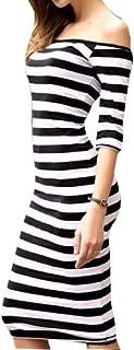 cutaway collar striped evening dress