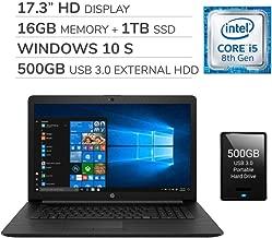 """$699 » HP 2020 Premium 17.3"""" HD Laptop, 4 Core Intel i5-8265U 1.60 GHz, 16GB RAM,1TB SSD, DVD, Wi-Fi, Bluetooth, Webcam, HDMI, Windows 10 S,500GB USB 3.0 External HDD"""
