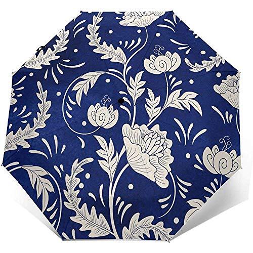 Hermosa Flor Blanca Impresa a Prueba de Viento Paraguas de Viaje - a Prueba de Viento, toldo Reforzado