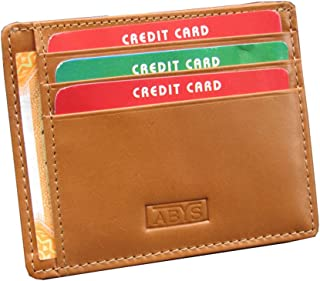 ABYS Tan Genuine Leather Wallet//Credit Card Case//Debit Card Holder with Cash Compartment