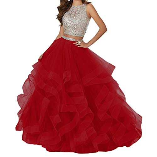 6f5d75c49 KaBuNi Women's Gorgeous Two Pieces Quinceanera Dress Ruffles Long Prom Gown