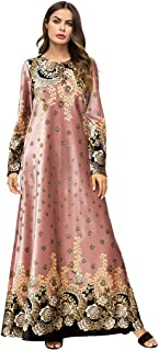 Muslim Dress Dubai Kaftan for Women, Arab Islamic Middle East Ethnic Print Long Sleeve Abaya, MITIY