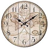 Something Different - Reloj de Mapa al por Mayor (6/12), Madera, Multicolor, 34 x 34 x 0,4 cm