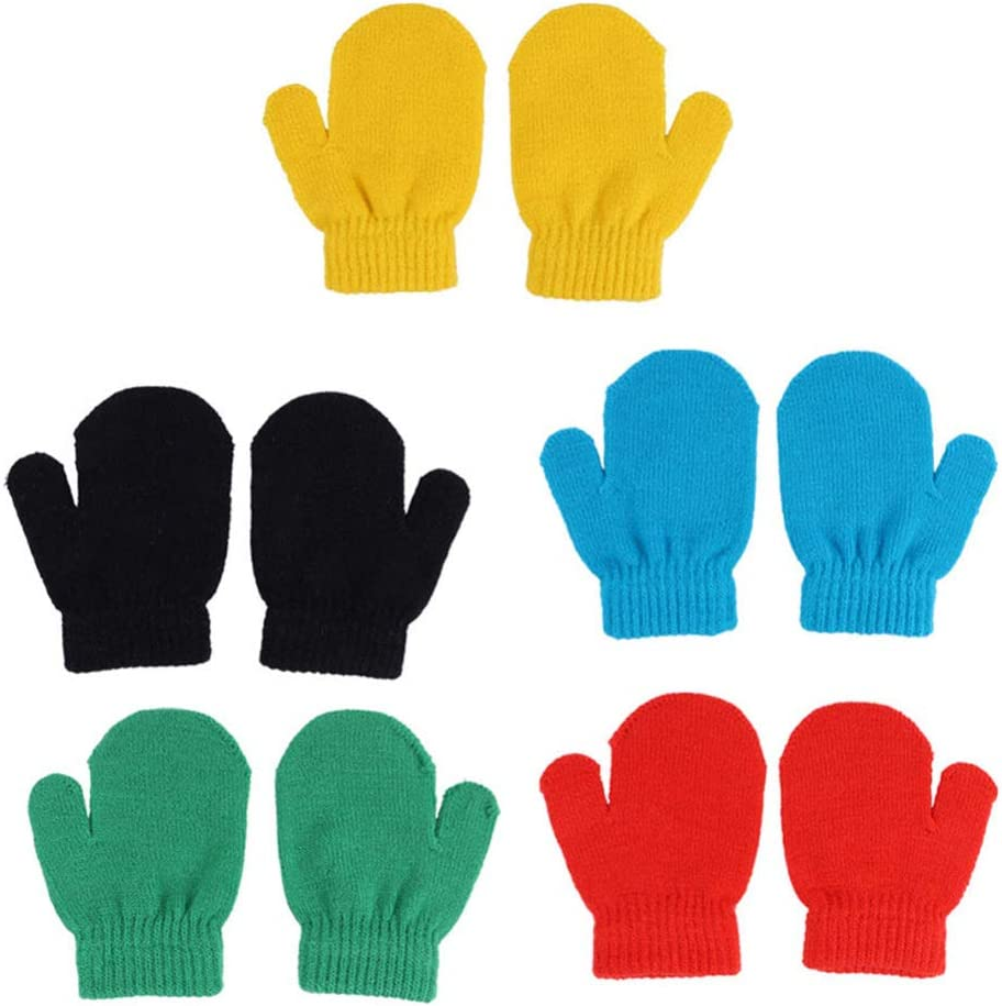 BESPORTBLE 5 Pairs Kids Winter Gloves Colorful Acrylic Fibers Mittens Warm Magic Stretchy Knit Gloves for Toddler Baby Girls Boys