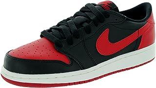 5aebf31dd771ab Nike Mens Air Jordan 1 Retro Low BG Bred Black Varsity Red-Sail Leather