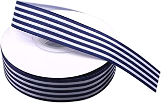 Navy and White Striped Ribbon, Blue Taffy Grosgrain Ribbon 1 Inch Christmas Gift Wrap Ribbon for DIY Hair Bow Scrapbooking Party Wedding Holiday Decoration Crafts 25 Yards