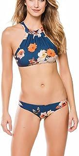 ee83f9a553 DFXIU Bagno Blu Donna Bikini Vintage Sexy Pad Fiori Costumi Costume Donna  Mare Due Pezzi (