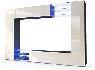 Vladon Mueble de Pared Mirage Cuerpo en Negro Mate/Frentes en Crema de Alto Brillo con iluminación LED