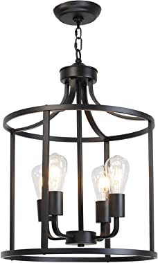 VINLUZ Farmhouse Foyer Lighting Black Chandeliers 4 Light Modern Dining Room Lighting Fixtures Hanging, Kitchen Island Cage P