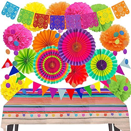 ZERODECO Juego de decoraciones para fiestas – Banderas mexicanas y cubierta de mesa, abanico de papel Fiesta y pompones, guirnaldas de cuerda y banderines para cumpleaños mexicano Cinco De Mayo