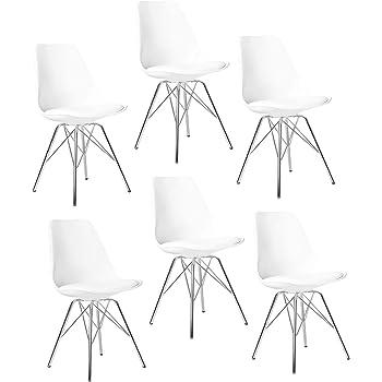 Elightry Pack 6 Silla Tower Patas Metal Sillas de Comedor Cuero Sintético Silla Diseño Nórdico Sillas Cocina Silla Oficina Blanco: Amazon.es: Hogar