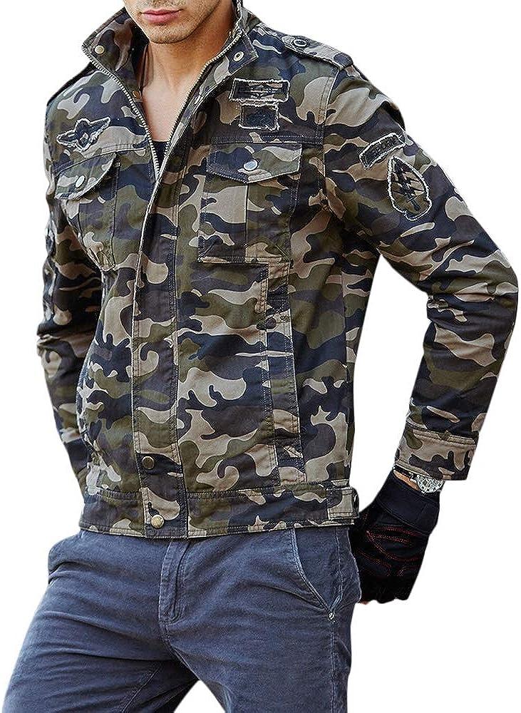 JMSUN Men Appliques Camouflage Printed Jacket
