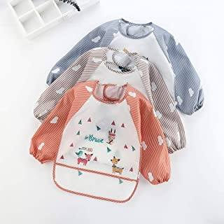 Baby's Waterproof Toddler Bib Long Sleeve Cotton Adjustable Snaps Infant Children?s Long Sleeved Bib Shirt with Pocket Was...