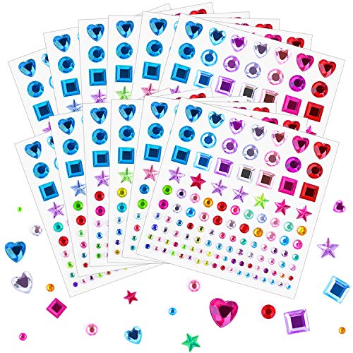 Self Adhesive Rhinestones Stickers, Selizo 1368Pcs Craft Gems Jewel Stickers Face Jewels Stick on Bling Crystal Diamond Stickers for Crafts, Decorations, Body Painting, Assorted Shapes, Sizes and Colo