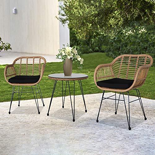 LISAY Juego de 3 muebles de patio al aire libre de mimbre, ratán, para conversación, porche, conversación, sillas de mimbre con mesa de café, mesa de cristal templado