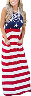 For G and PL Women's 4th of July American Flag Sleeveless Tank Maxi Dress with Pockets