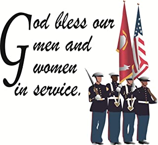 God bless our men – Army Navy Troops – America Life Soldier - Picture Art - Peel & Stick Vinyl Wall Decal Sticker Size : 20 Inches X 20 Inches - 22 Colors Available