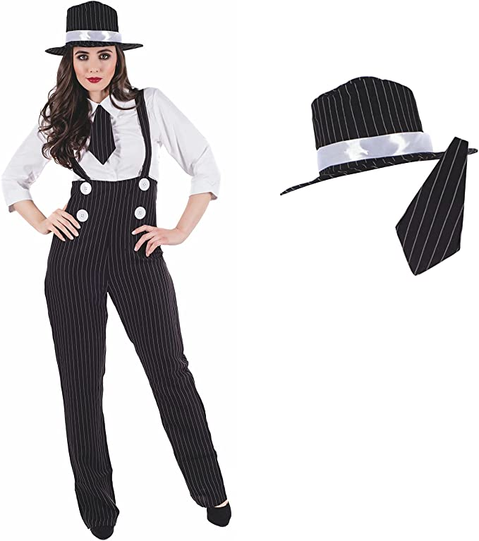 Roaring 20s Costumes- Flapper Costumes, Gangster Costumes Fun Shack Gangster Costume Women Mob Boss Gangster Halloween Costumes For Women Available In Sizes Small Medium Large XL XXL  AT vintagedancer.com