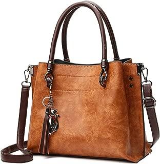 Vegan Leather Women Handbags and Purses - Top-Handle Ladies Tassel Tote Bag