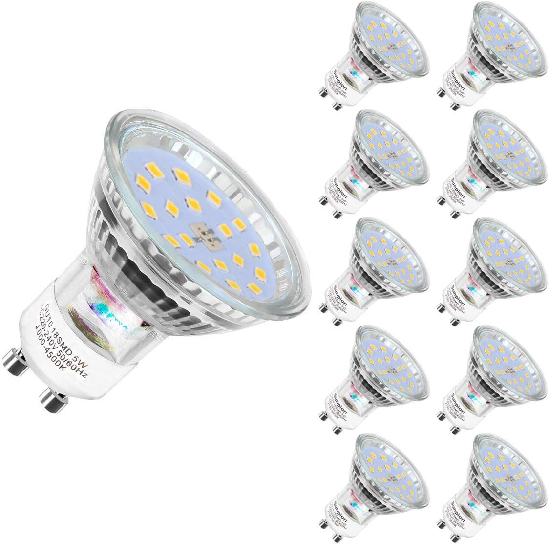 Bombilla LED GU10, luz blanca neutra, GU10, luz blanca neutra, 4500 K