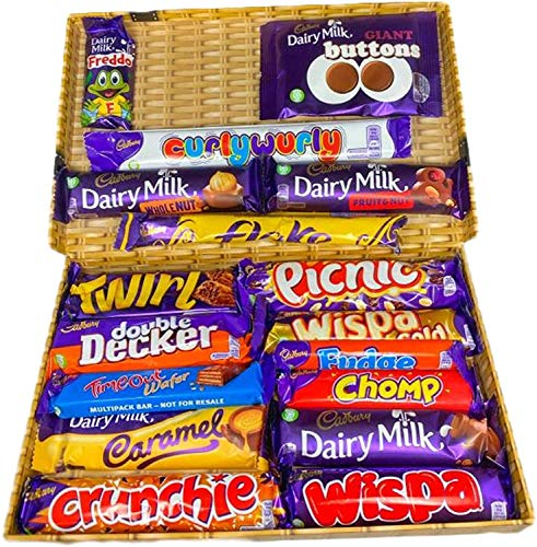 Cadbury Chocolate Gift Selection, 17 Bars of the Creamiest and Milkiest tasting Chocolate in a Wicker Style Gift Box.