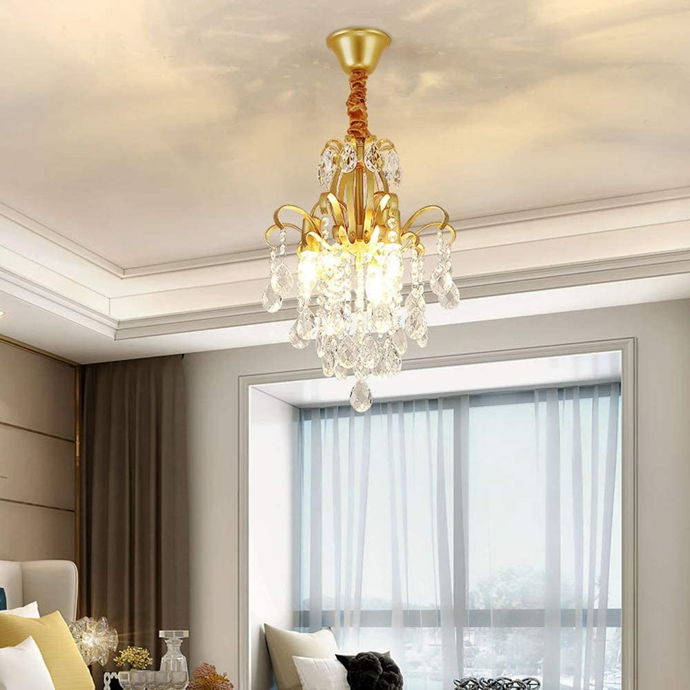 ZHHk Super special price Ceiling Light Golden Warm Country Crystal Sales for sale Wind Chime