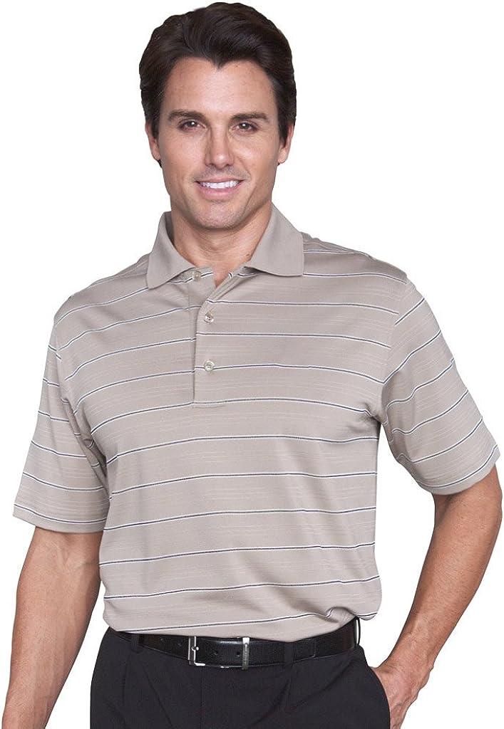 Monterey Club Men's Vero Single Stripe Texture Polo Shirt #1632