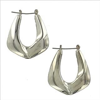 Pierced Earrings Hexagon Design Shiny Abstract Hoop Dangle Silver Tone 1 1/4