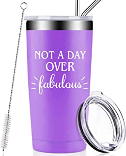 Not A Day Over Fabulous, Funny Birthday Gifts for Women, Best Friends, Her, BFF, Mom, Grandma, Sister, Aunt, Daughter, Wife, Coworker, 21st 30th 40th 50th 60th 70th Christmas Gifts Wine Tumbler Cup