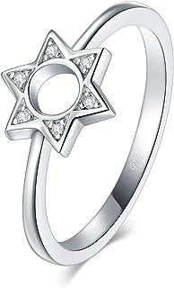 BORUO 925 纯银戒指,方晶锆石六角星戒指 2mm 尺寸 4-12