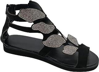 UULIKE Sandales Plates Papillon Paillettes,Sandales Bout Ouvert Femme,Casual Creux Mode Multicoloree Chaussures de Bohême,...