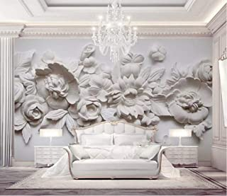 YHEGV Photo Wallpaper 3D Effect Wall Mural 300 cm x 210 cm Non Woven Paper for Living Room Bedroom Office TV Background Decoration - Oil Painting Style European Plaster Carving