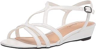Easy Street Women's Wedge Heel Sandal, White, 9