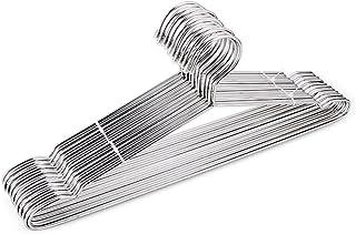 Foccoe 304 ステンレスハンガー 頑丈ハンガー 洗濯 ハンガー すべらない 錆びにくい 曲がらない おしゃれくぼみ付 シルバー 10本セット 304 ステンレス 幅42cm