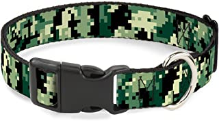 """Buckle-Down Dog Collar Plastic Clip Digital Camo Available in Adjustable Sizes for Small Medium Large Dogs 1.5"""" Wide - Fit..."""