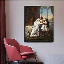 Francesco Hayez Kiss Art Wall Art Canvas Posters Impresiones Imagen de Pared para Sala de Estar Decoración para el hogar Obra de Arte 60x80cm sin Marco