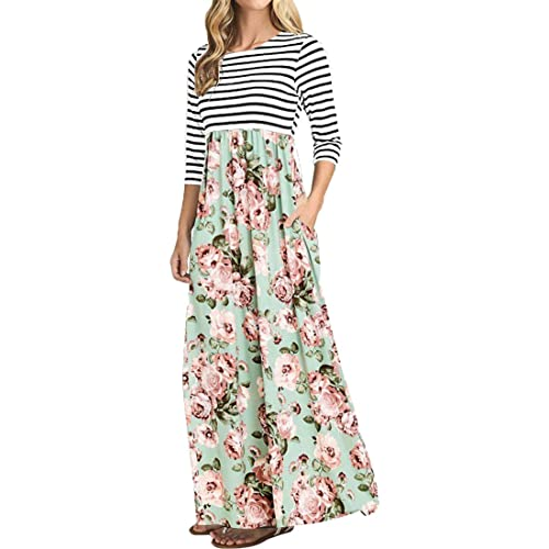 53d3d1998e74 OURS Women's Striped Floral Print Elastic Waist 3/4 Sleeve Maxi Dress with  Pockets
