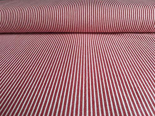 Oshkosh Denimstoff, Jeansstoff Rot mit weißen Streifen als Meterware zum Nähen von Erwachsenen und Kinderkleidung, 50 cm