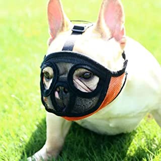 Short Snout Dog Muzzles - Full Breathable Mesh Mask - Adjustable for Biting Chewing Barking Training Bulldog Muzzle