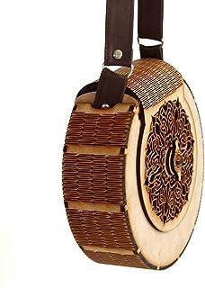 pranali enterprise E Women's Round Shape Decorative Lesser Cutting Wooden Purse (Brown)