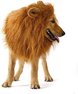 GUGELIVES Dog HalloweenCostumes-Dog Lion Mane with Ears Costume Pet Lion Mane Wig for Large Medium Dogs Hair Halloween Christmas Festival Party Fancy Dress Up Clothes Costume