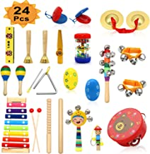 PETUOL Kids Musical Instruments, 24 PCS Musical Percussion Instrument Set for Toddlers, Xylophone Tambourine for Children Preschool Education, Early Learning Musical Toys for Boys and Girls Backpack
