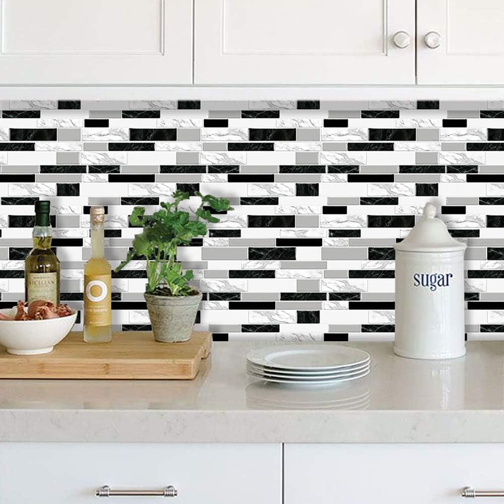 SOAMBOLAVITA Wall Tile Peel and Stick Backsplash 9D Vinyl Self Adhesive  Wallpanels Marbleize for Kitchen Bathroom Black, White and Grey 9