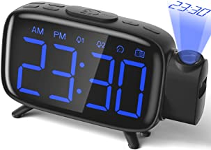 Projektionswecker Radiowecker digitaler Wecker mit Projektion mit 3 stufige Helligkeit..