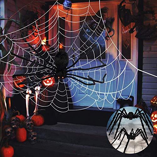 MHCYKJ Ragno della Decorazione di Halloween, Ragnatela Gigante da 141,6 Piedi e Ragno Gigante da 59 Piedi 2 Pezzi, Decorazioni Horror di Halloween per Interni ed Esterni Dimensioni Regolabili