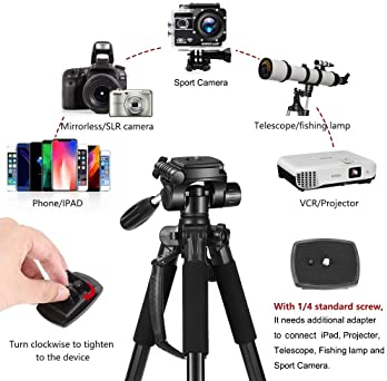 """65"""" Camera Tripod Compact Light Weight Travel Aluminum Camera/Phone Tripod for Canon Nikon with 2PC Quick Plates and ..."""