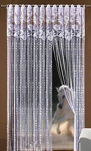 Fadenvorhang Blumenmuster Weiß 149,9cm Breite x 248,9cm Länge für Tür/Fenster Fliegengitter Quasten Fransen Rollo