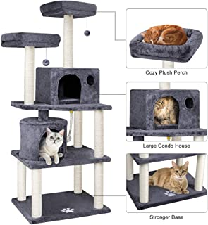 """Beau Jardin 60"""" Cat Tree Cat Tower with Sisal-Covered Scratching Post Cat Trees and Towers with 2 Perches and Plush Condos Play Tower Activity Tree for Kitten Climbing Tower Kitty Scratcher Tree House"""