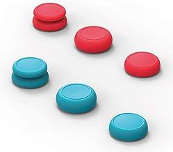 Skull & Co. スティックキャップ、スティックカバー - ジョイコンスティックキャップはJoy-Conに適用(スティック頭/ゴムではございません) - Neon赤色+青色、3ペア(6個)