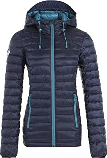 Snow Down Womens Lightweight Puffer Jacket Padding Hooded Sweatshirt Quilted Coat Short Outwear (Navy, XXL)